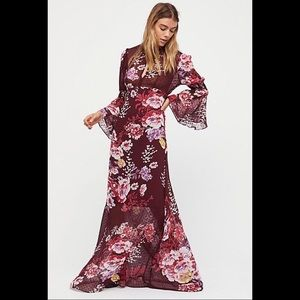 By Timo Free People wine floral gypsy boho maxi